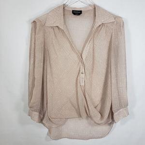 Bebe Pink Sheer Button V-Neck Blouse Sz Large